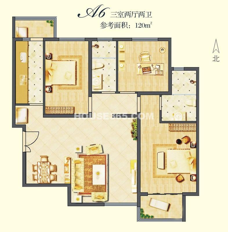 建邦华庭A6户型图3室2厅2卫1厨 120.00㎡