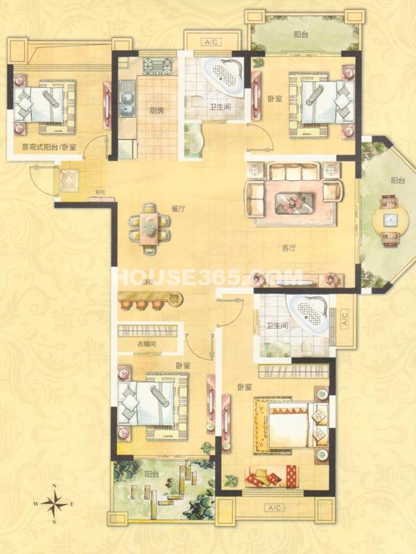 FB2户型(25#)-四室两厅两卫(150㎡+14.3㎡)
