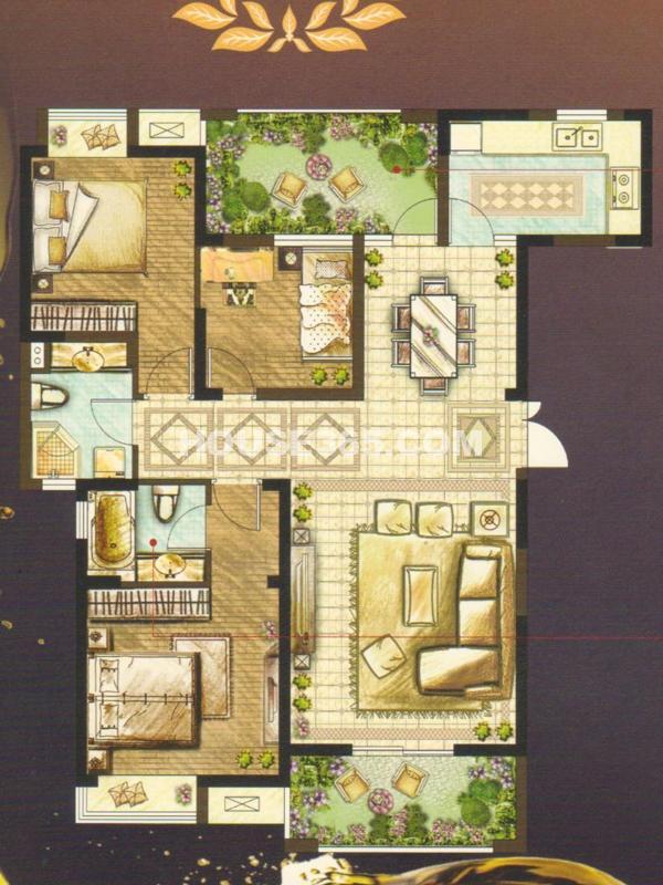 蝶变G户型(68#69#楼)-三室两厅两卫119㎡