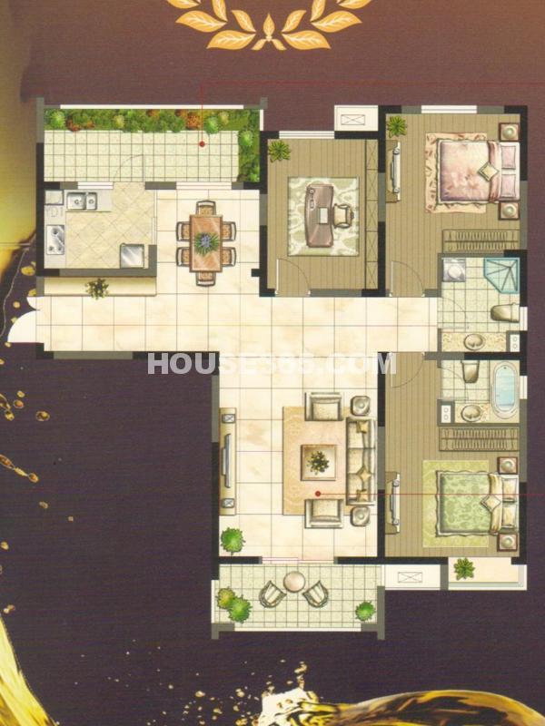 蝶变H户型(68#69#楼)-三室两厅两卫139㎡