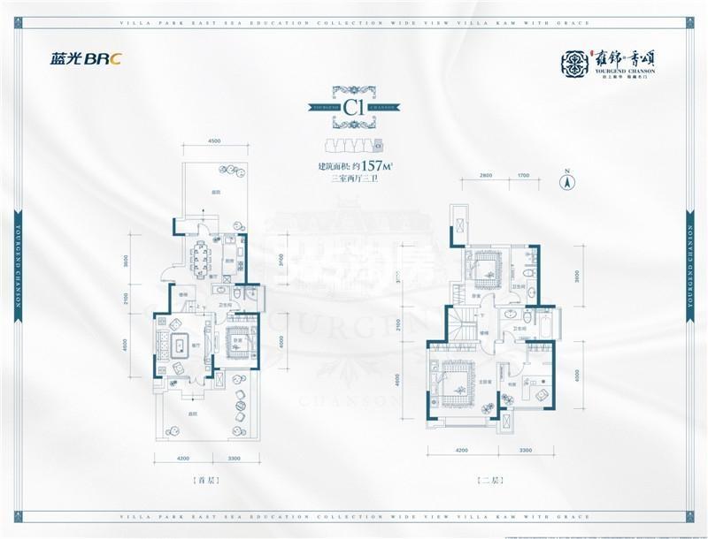 别墅C1户型 约157平米三室
