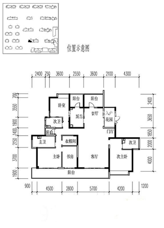 金地湖城大境户型图3室2厅3卫1厨 218.18㎡