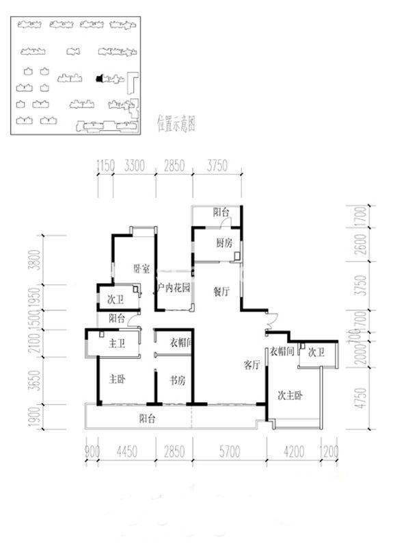 金地湖城大境户型图3室2厅2卫1厨 227.09㎡