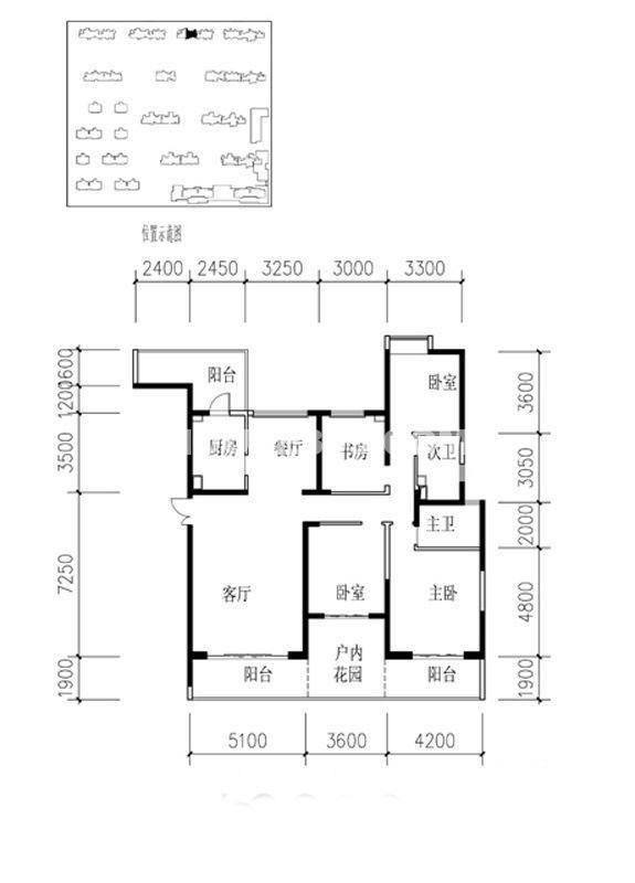金地湖城大境户型图4室2厅2卫1厨 197.63㎡