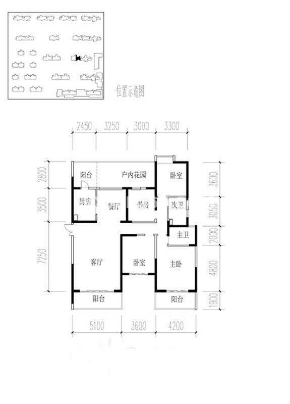 金地湖城大境户型图3室2厅2卫1厨 199.74㎡