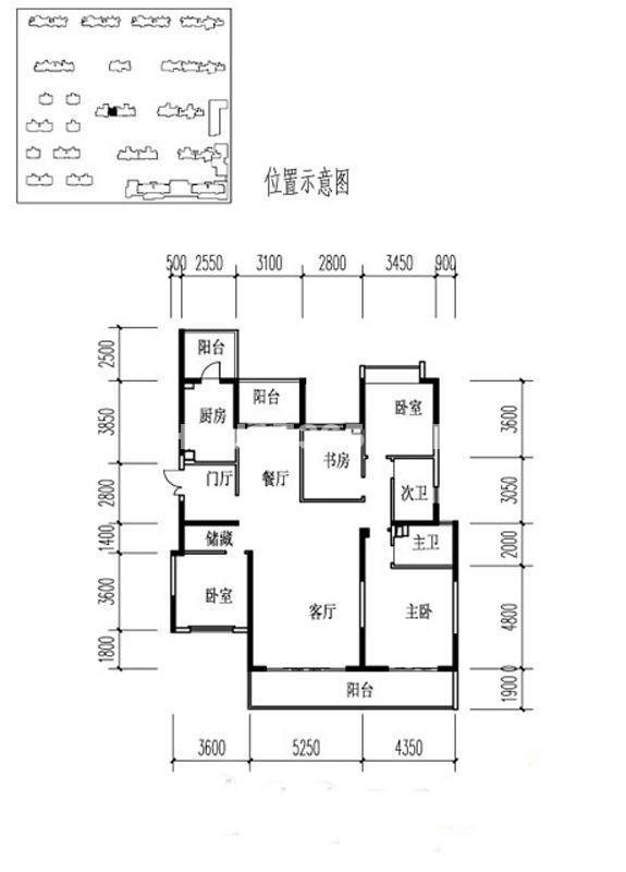 金地湖城大境户型图4室2厅2卫1厨 195.12㎡