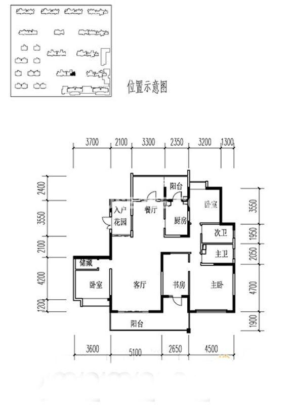 金地湖城大境户型图3室2厅2卫1厨 188.30㎡