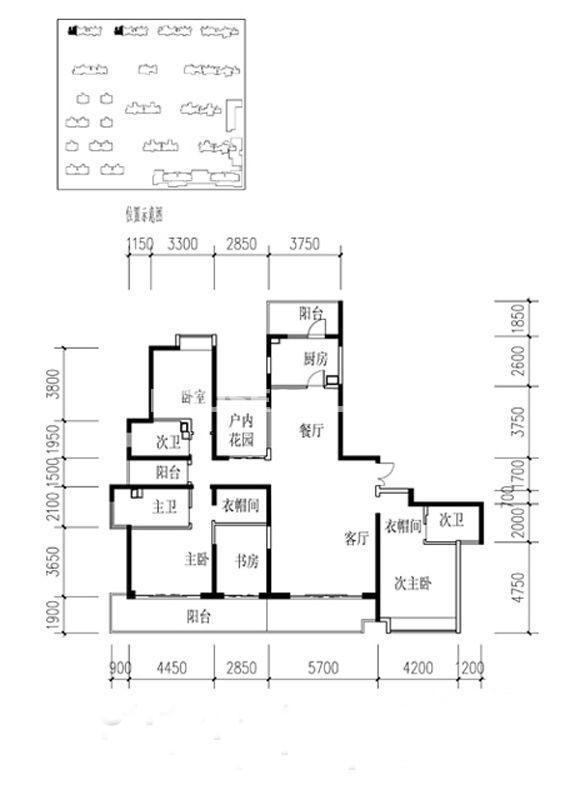 金地湖城大境户型图4室2厅3卫1厨 226.08㎡