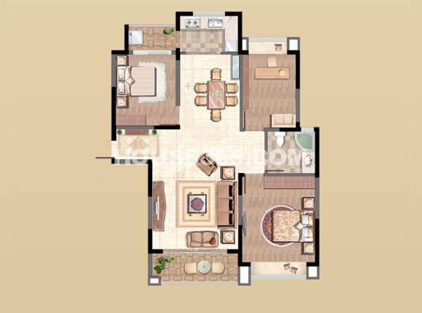 新湖明珠城6#H2户型3室2厅1卫1厨 122.00㎡.jpg
