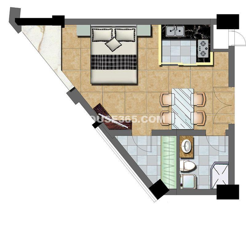 华夏元基商务公寓29#51.55平方米1室1厅1卫1厨