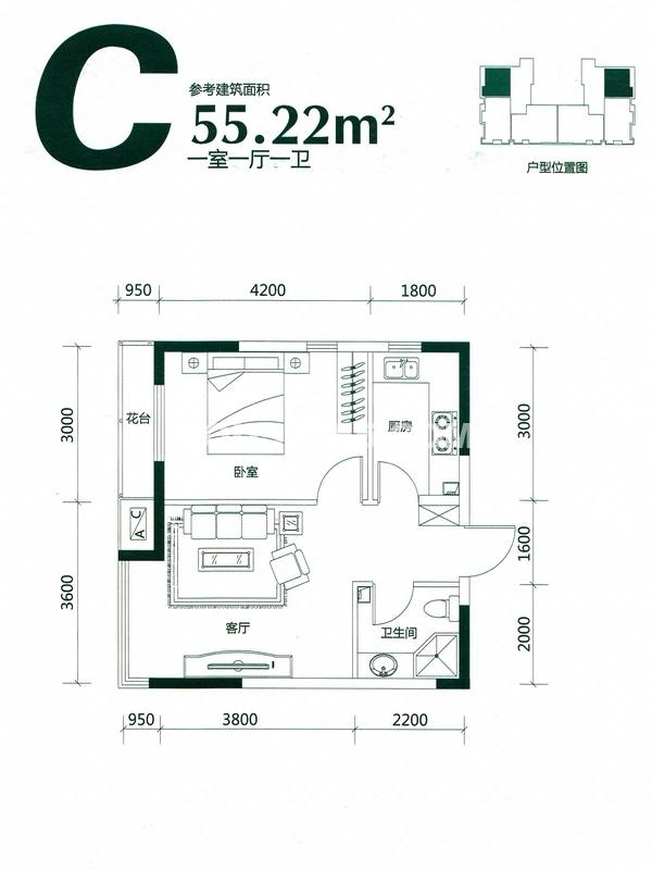 LOHAS上院C户型图55.22平米