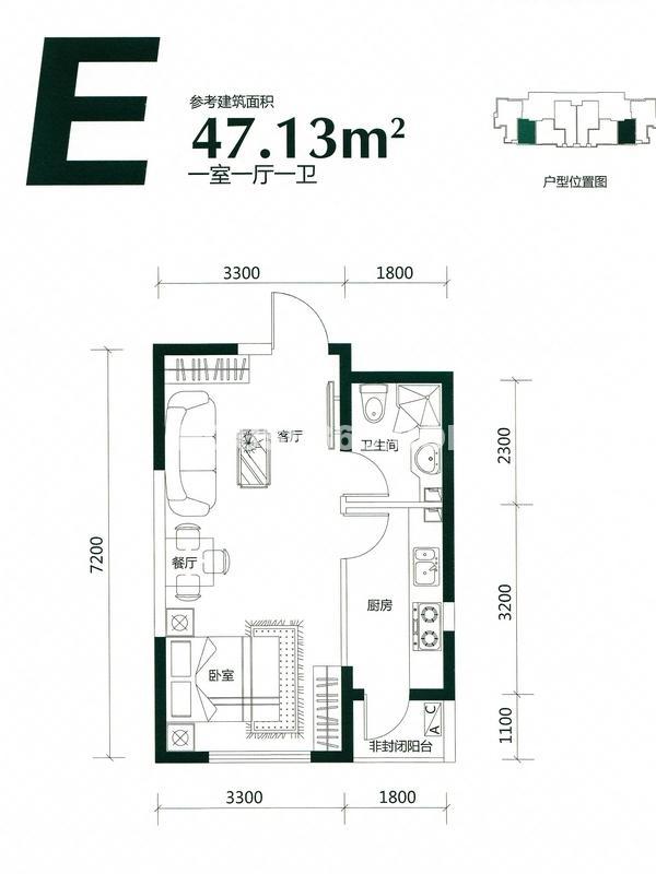 LOHAS上院E户型图47.13平米