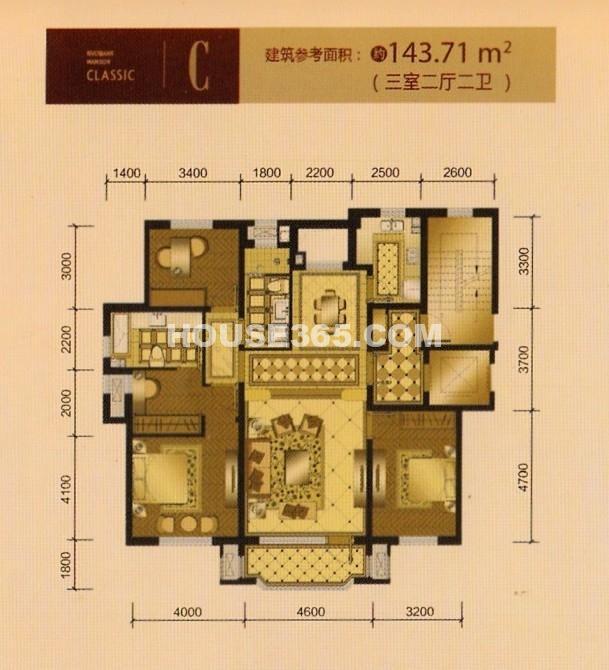 新湖仙林金谷143.71 平米户型图