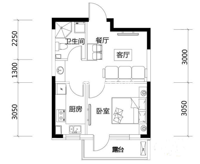 城市玫瑰园户型3G-011室1厅1卫 48.57㎡