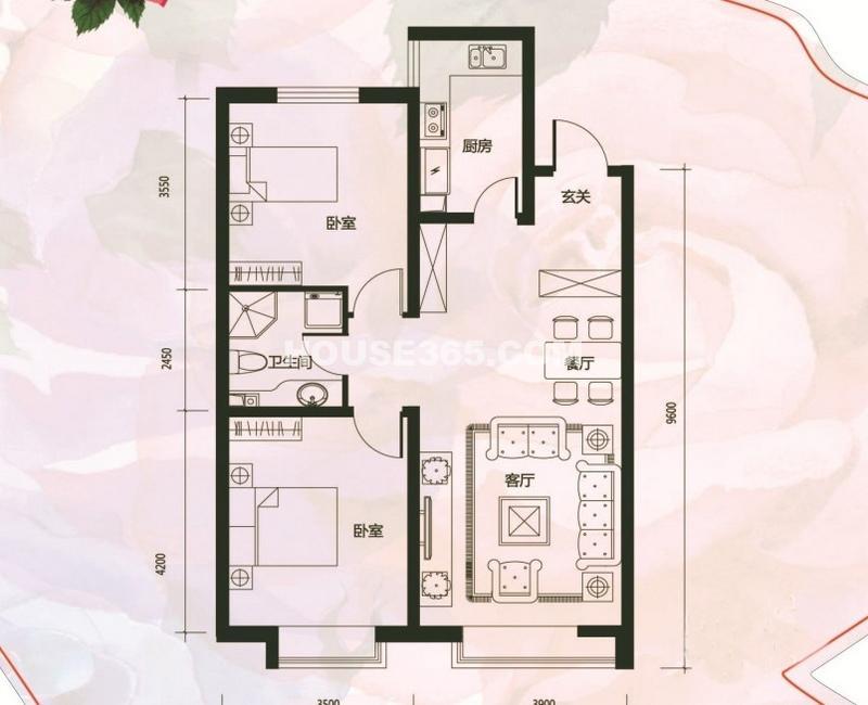 城市玫瑰园户型G3-012室2厅1卫 93.40㎡