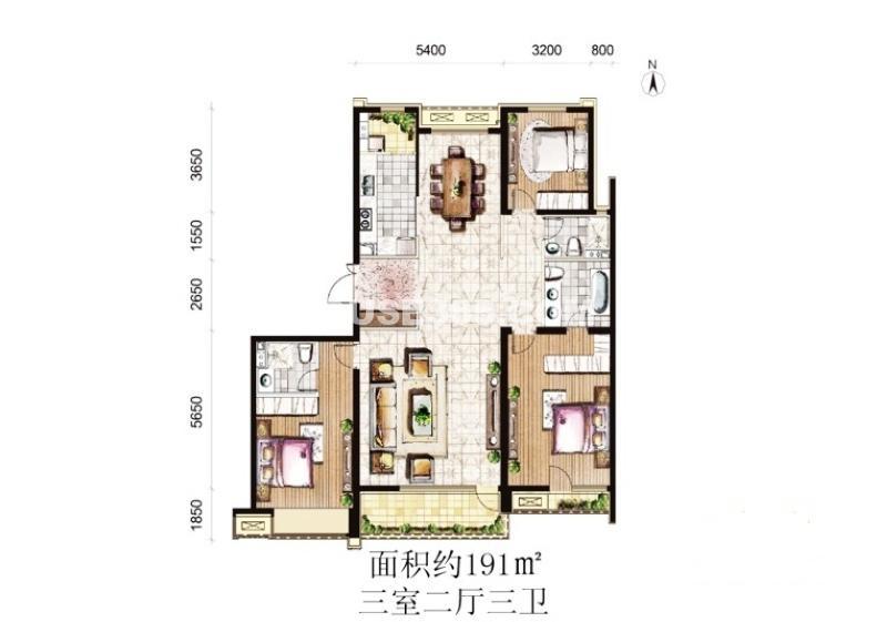 御景·新世界B户型3室2厅2卫 191.00㎡