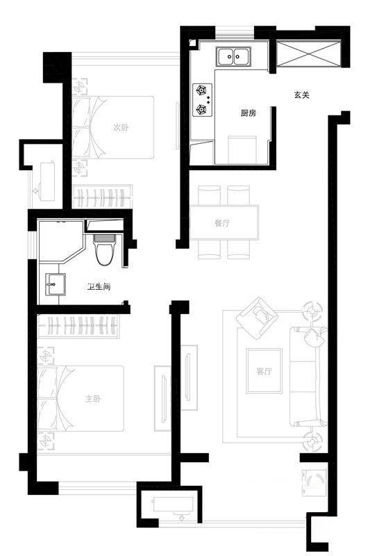 万科城3#、9#、15#标准层A1户型图2室2厅1卫1厨