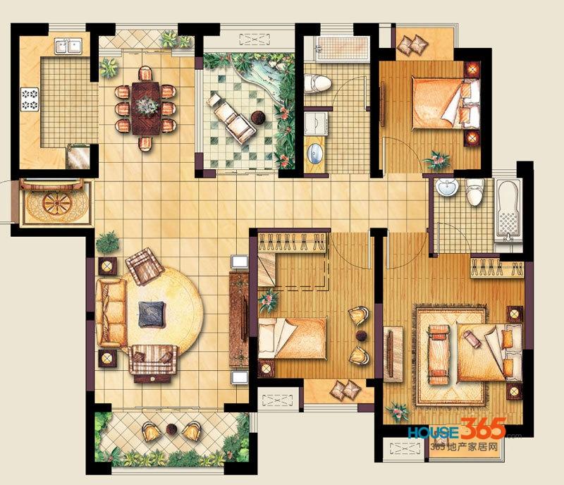 万业湖墅金典一期3、4、9、10、11、12#标准层E户型3室2厅2卫1厨 124.00㎡