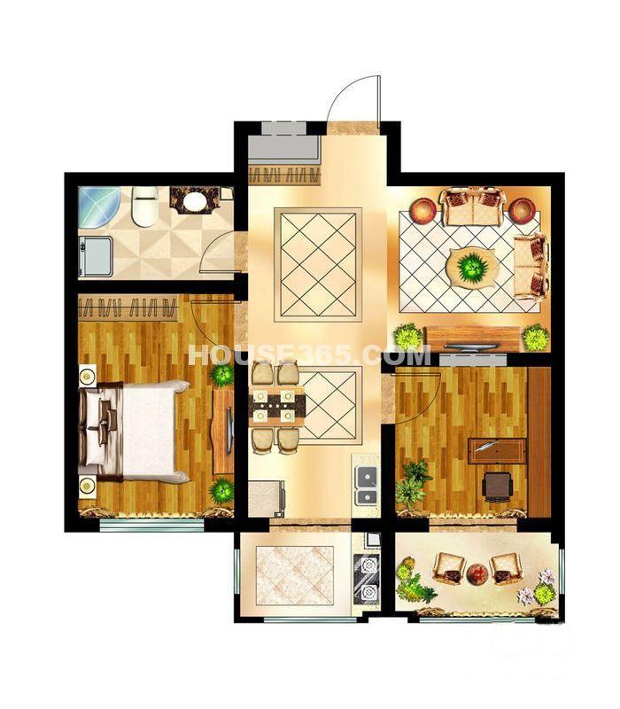 会展壹号B户型二室二厅一卫2室2厅1卫-75.00㎡