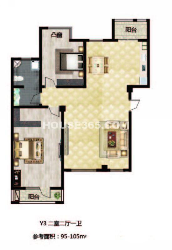 长堤湾户型图Y3-012室2厅1卫1厨-105.00㎡