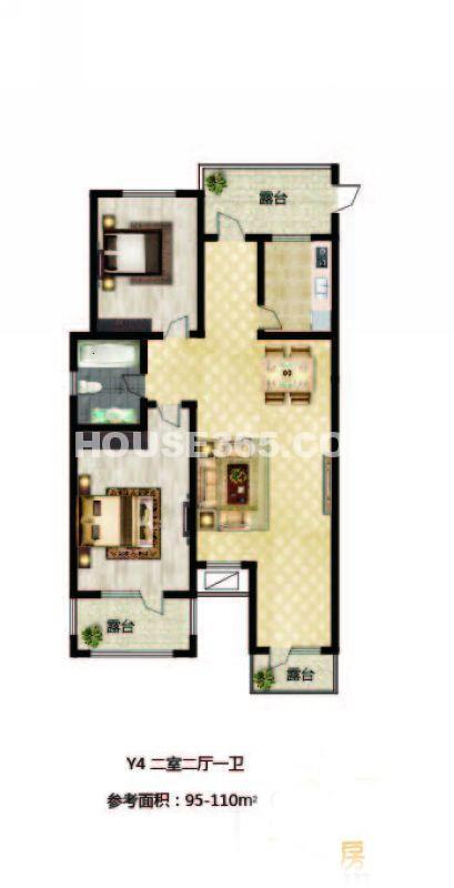 长堤湾户型图Y4-012室2厅1卫1厨-110.00㎡