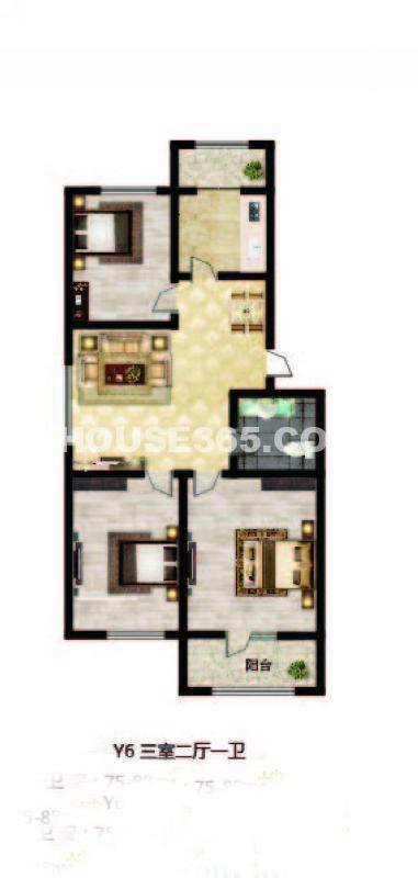 长堤湾-户型图Y6-013室2厅1卫1厨-85.00㎡