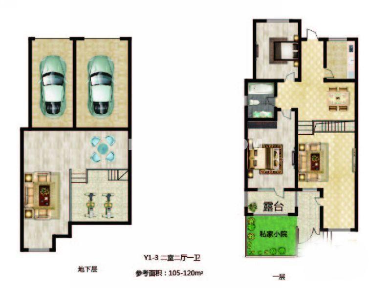 长堤湾-户型图Y1-3-012室2厅1卫1厨-120.00㎡