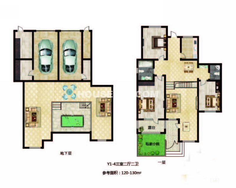 长堤湾-户型图Y1-4-013室2厅2卫1厨-130.00㎡