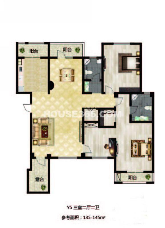 长堤湾户型图Y5-013室2厅2卫1厨-145.00㎡