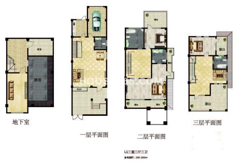 长堤湾-联排-01户型图3室3厅3卫1厨-260.00㎡