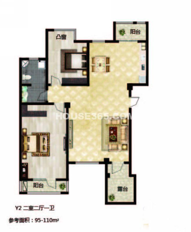 长堤湾-户型图Y2-012室2厅1卫1厨-110.00㎡