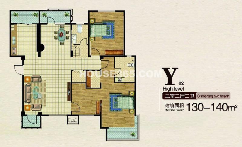 长堤湾-户型图Y023室2厅2卫1厨-140.00㎡