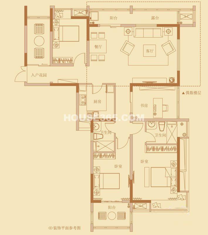 云山诗意6#楼标准层L户型图3室2厅2卫1厨 131.00㎡