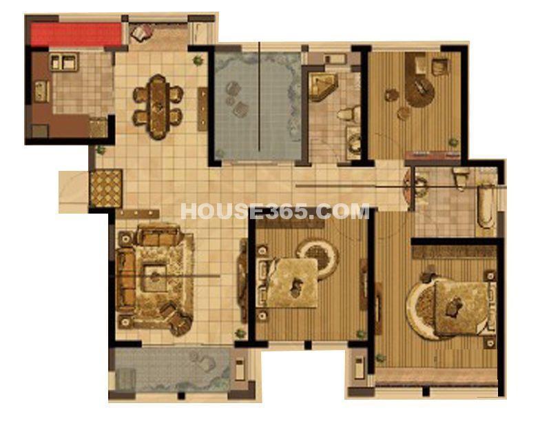 中天和景苑7#、8#、9#楼标准层C4户型3室2厅2卫1厨 141.00㎡