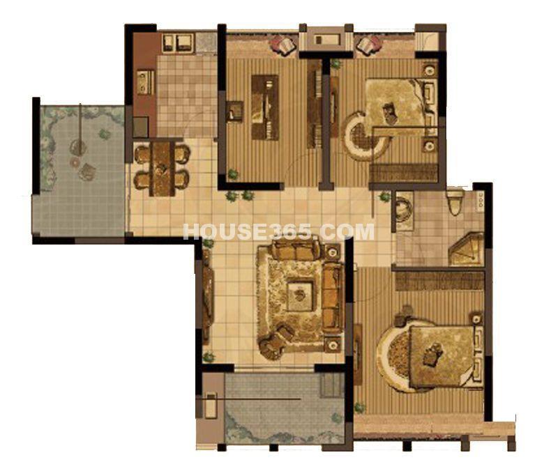 中天和景苑5#、10#楼标准层C6户型3室2厅1卫1厨 102.00㎡