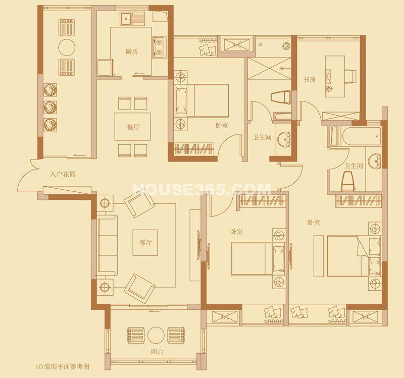 云山诗意6号楼标准层G户型图3室2厅2卫1厨 125.00㎡