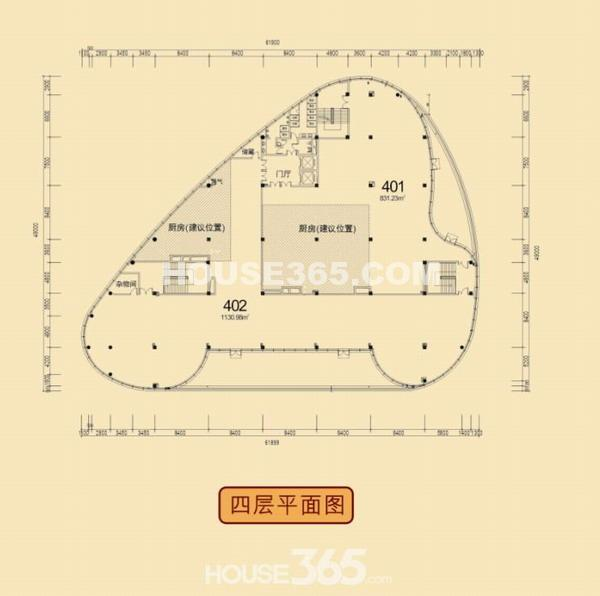 12B#楼四层户型平面图