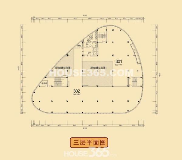 12B#楼三层户型平面图