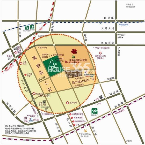 美新玫瑰大道交通图