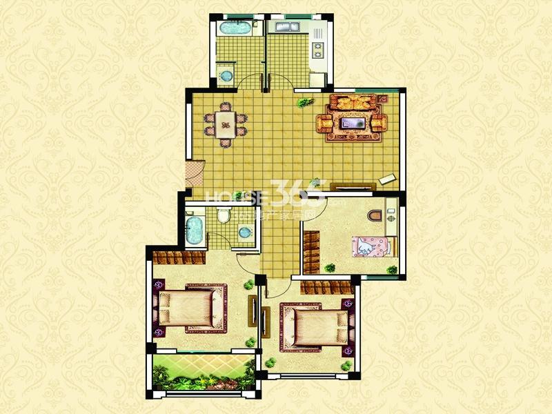 17#22#A2户型-三室两厅两卫一阳台114㎡