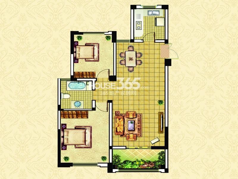 17#22#D3户型-两室两厅一卫一阳台96㎡