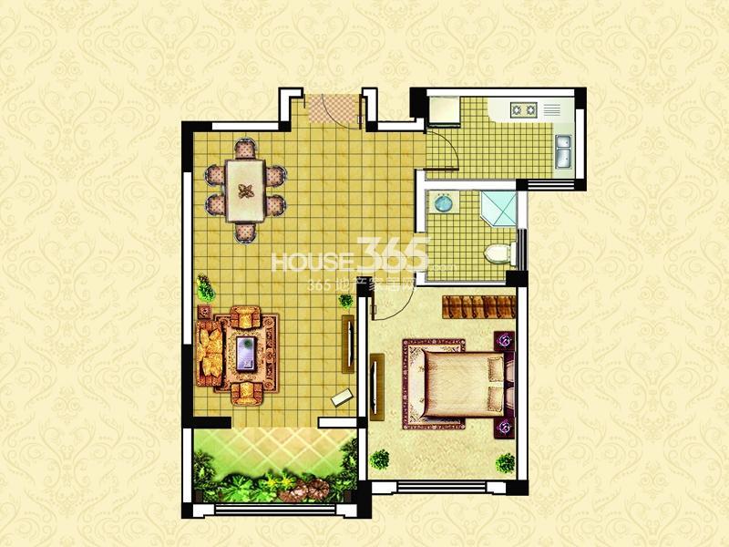 17#22#D2户型-一室两厅一卫一阳台70㎡