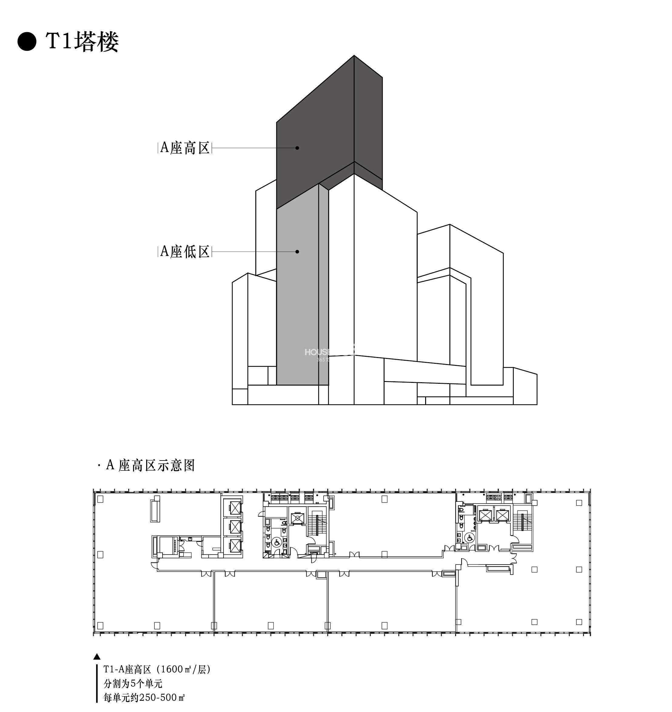 t1塔楼 a座高区户型图 每单元约250-500方