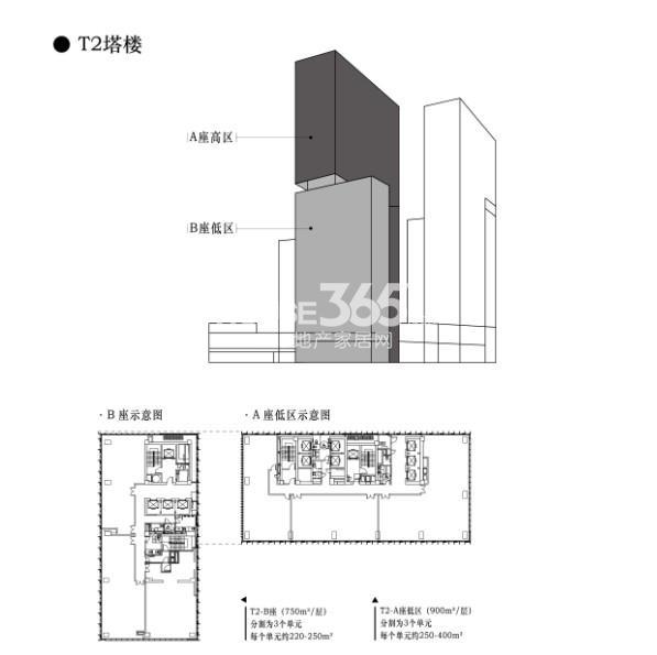 T2塔楼 A、B座低区户型图