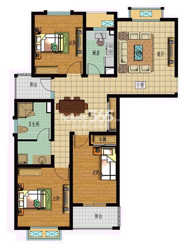 【枫林湾】15#楼3室2厅1卫1厨 106.13平米