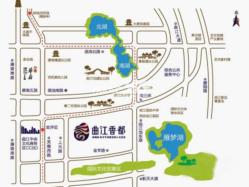 曲江香都交通图
