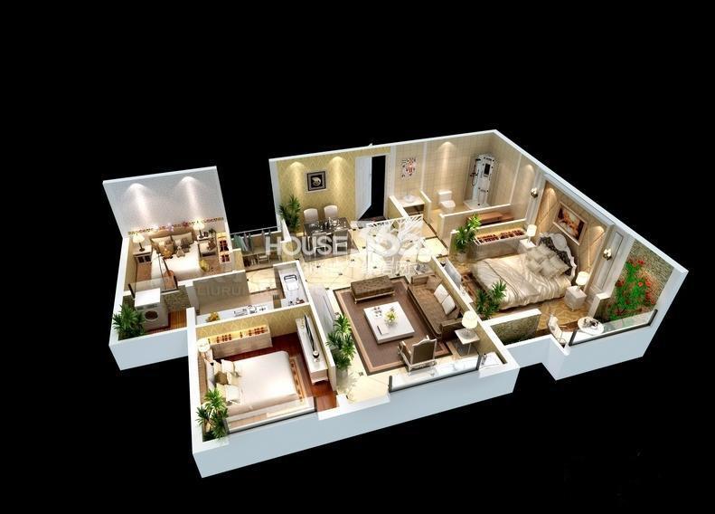 紫薇风尚三期锦程户型3室2厅1厨1卫 109.00㎡
