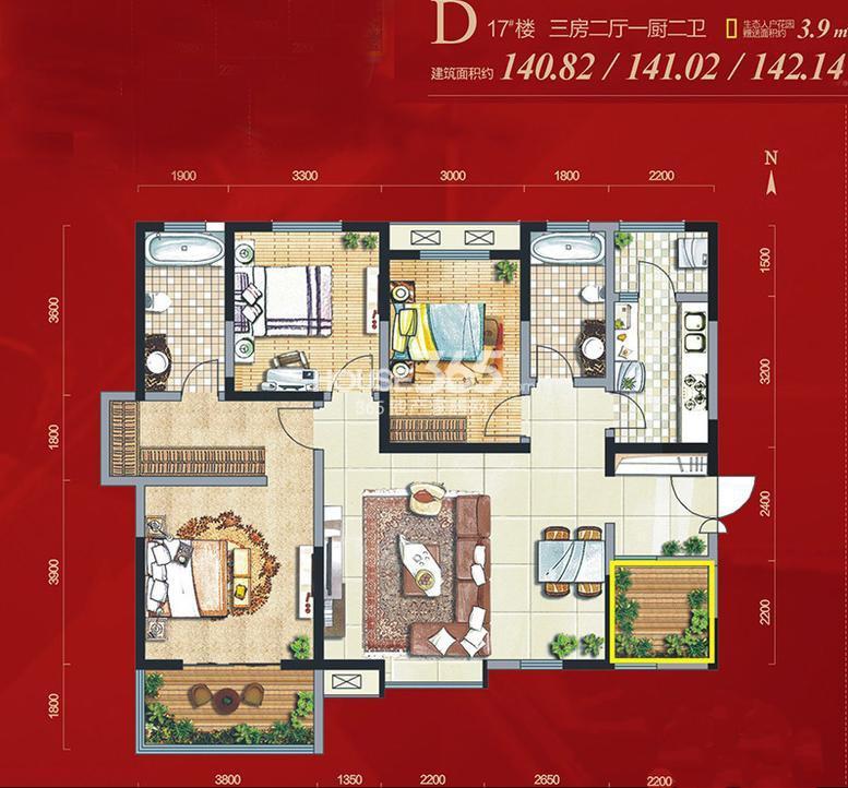 天朗御湖17#楼D户型3室2厅1厨2卫 140.82㎡(已售完)
