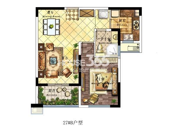 27#楼B户型-72平-两室两厅一卫