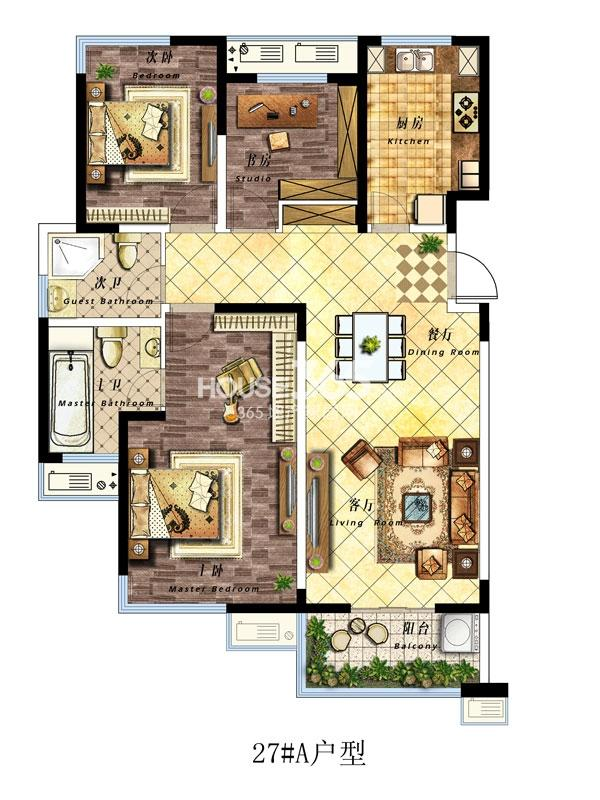 27#楼A户型-130平-三室两厅两卫